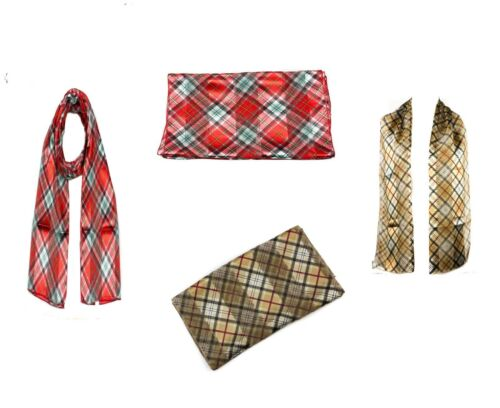 Ladies Scottish Check Tartan Style Scarf Long Satin Chiffon Striped Scarves Wrap