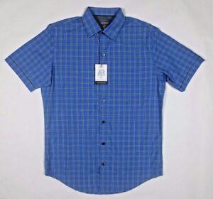 6bc08cccb57 Van Heusen Men s Air Classic-Fit Blue Print Short Sleeve Shirt Small ...