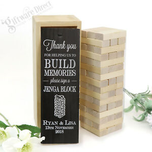 Details about Personalised Jenga Wedding Guest Book Gift for Engagement,  Wedding, Anniversary