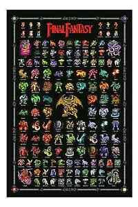 Final-Fantasy-1-Retro-Nintendo-Nintendo-Entertainment-System-style-Poster-Demons-Chaos-Monstres