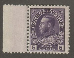 """Canada 1922 #112 King George V """"Admiral"""" Issue - MH F + selvedge at left"""