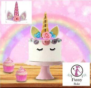 Einhorn Topper Kuchen Aufsetzer Party Torten Deko Happy Birthday Kindergeburtsta