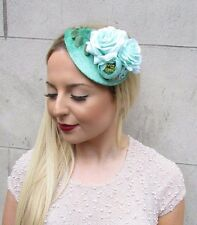 Mint Turquoise Green Flower Fascinator Teardrop Races Vintage Hair Clip 2635