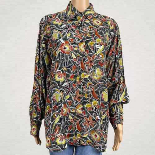 Vtg 90s GUESS Floral Print Button Down Collared Boxy Blouse