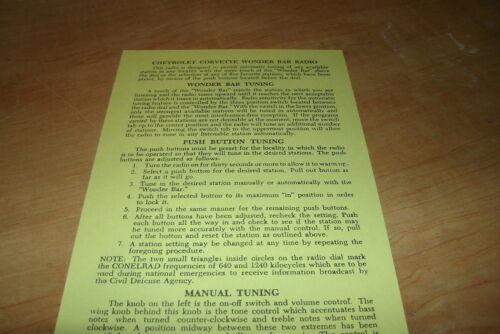 1958 1959 1960 CHEVROLET CORVETTE WONDER BAR RADIO OWNERS MANUAL GUIDE BOOKLET