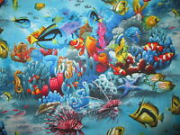 CLOWNFISH STAR FISH TROPICAL REEF OCEAN COTTON FABRIC FQ