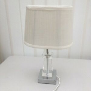 Nice-Stainless-Steel-Glass-Table-Lamp-with-Cloth-Cream-Shade-by-Rutland