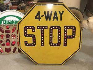 Original Vintage 4 Way Stop Sign Cats Eye Glass Marble