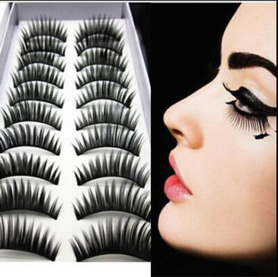 10 Pairs Natural Thick Black False Eyelashes Charming Eye Lashes Makeup