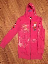 ED HARDY Women's Size S Hot Pink Free Love Logo Hoodie/Sweater