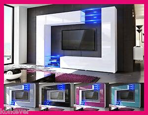 Mobile moderno tavolo porta TV laccato lucido / legno salotto ...