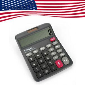 US Truly 12Digits 833-12 Desk-Top Calculator Dual Power Power Switch Office Home