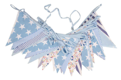 Cotton Bunting Blue Floral 40ft Wedding Banner Stripes Spotty Bargain Party