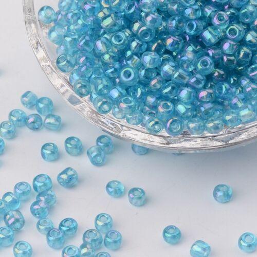 1463 50 g Rocaille 4 mm Arc-en-ciel Couleurs transparent bleu perles de verre