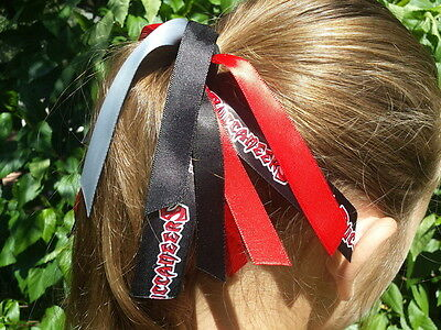 Team Colors Ribbon Ponytail Holder Made with Tampa Bay Buccaneers Satin Ribbon