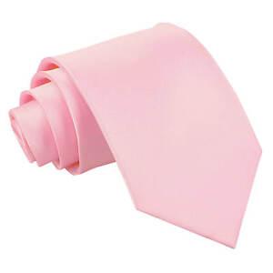DQT-Satin-Plain-Solide-Bebe-Rose-formelle-de-mariage-pour-Homme-Classique-Cravate