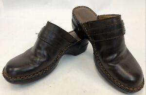 Womens-BOC-Born-Concept-Brown-Leather-Slip-On-Closed-Toe-Shoes-Clogs-Size-8