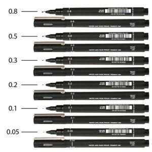 6-Feinschreiber-Liner-Fineliner-o-Pinselstift-Pigment-ink-wasserfest-schwarz-g