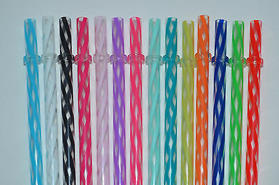 "14 - 9"" & 11"" Reusable Straws Clear Swirly Colored Plastic Acrylic Ring BPA Free"