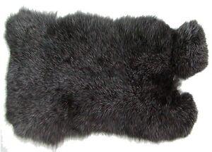0287ae5ddfc67 Das Bild wird geladen weiches-Kaninchenfell-schwarz -silber-natur-seidiges-Haar-Fell-