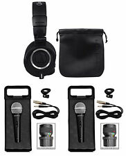 Audio Technica ATH-M50X Over Ear Studio Monitor Headphones W/ Case+2 Microphones