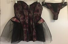 Victoria's Secret Floral Underwired Tutu Bustier Basque Corset Thong Set 34B