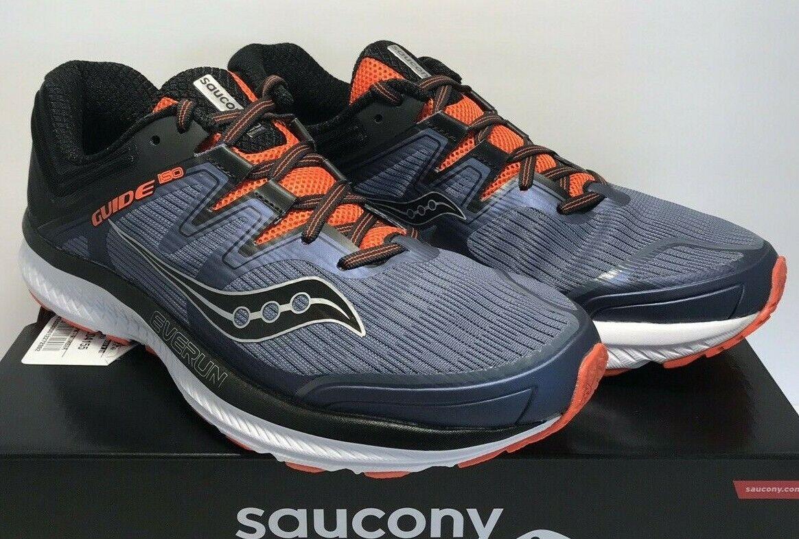 Saucony Para Hombre guía ISO gris Negro Naranja Correr Entrenamiento Calzado S20415-5