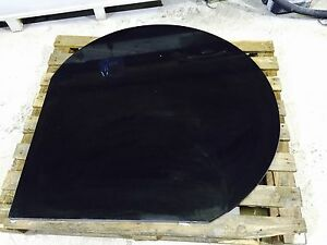 Wood Burning Stove Tear Shape Hearth 30mm Black Granite Honed Matt