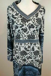 White Mark Knit Dress Stretch Paisley Bohemian Hippie Chic Embroidered New Sz XL