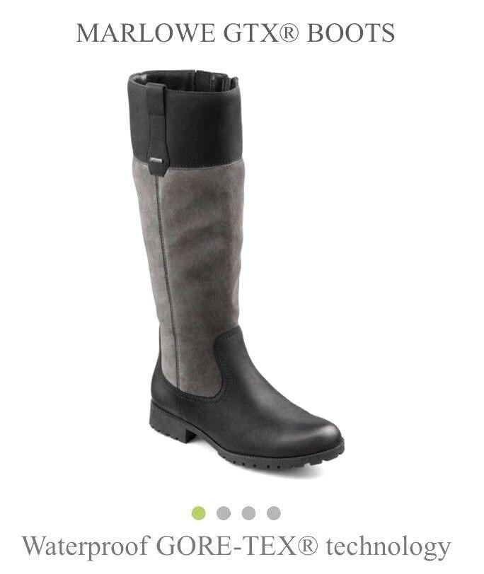 Más caliente Marlowe Negro y gris Knee High Water Proof Gore-Tex botas Talla