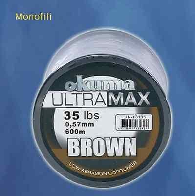 MONOFILO ULTRA MAX BROWN 0,57 MM OKUMA 600 MT FILO MULINELLO PESCA MARE LINE