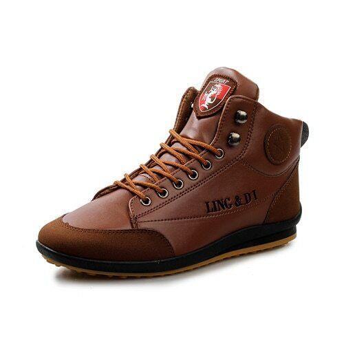 Zapatos Altos De Cuero Lujo Para Hombres Botas De Tobillo Moda Elegante Casual