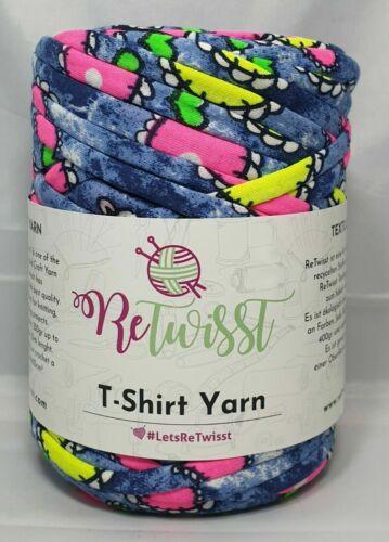 55m ReTwisst `Stoffgarn//T-Shirt Garn verschiedene Farben und Muster` Neu ~300g
