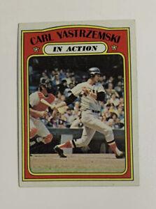 1972 Topps Carl Yastrzemski # 38 Baseball Card Boston Red Sox In Action HOF