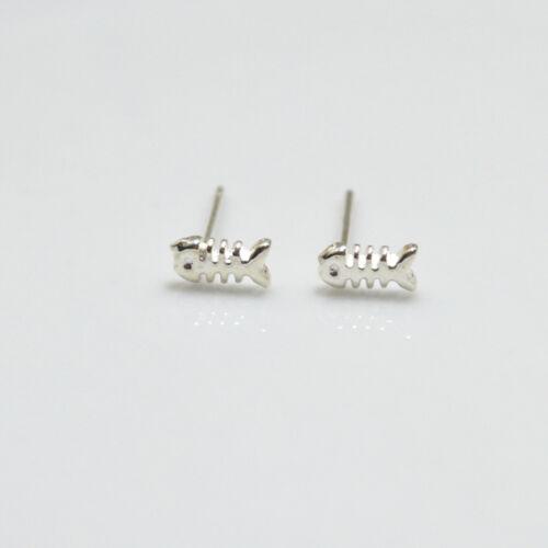Solid 925 Sterling Silver Cute Small Fish Bone Skeleton Stud Earrings Gift