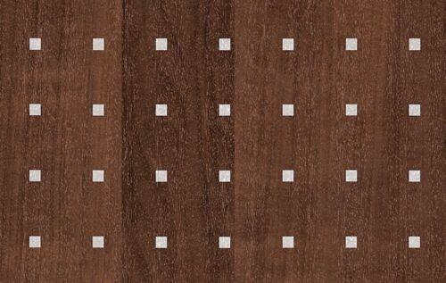 2 M x 67.5 cm imitation bois marron argent carrés Sticky Back Plastic VINYL FILM