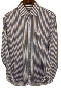 Peter-Millar-Men-039-s-Button-Down-L-S-Blue-Pink-Stripes-Shirt-Dress-Size-Large