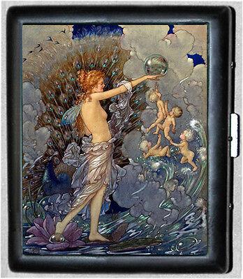 Fairy Peacock Black Metal Wallet Cigarette Case #986