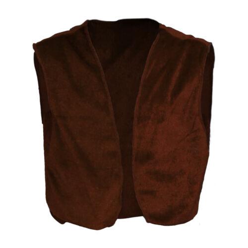 Kids Brown Velvet BFG Giant World Book Day Fancy Dress Waistcoat