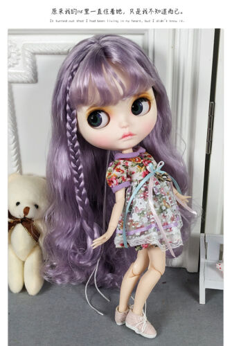 Blythe Nude Doll from Factory Light Purple Hair Make-up Eyebrow Sleeping Eye
