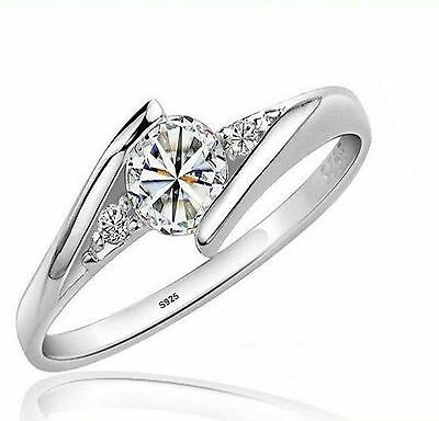 1/2 ct Diamond Sterling Silver Ring + Worldwide FREE SHIPPING n GIFT POUUCH