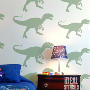 Image Is Loading T REX Dinosaur Stencil Kids Room Wall Da