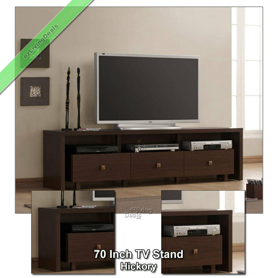 70 tv stand entertainment media console table stands for flat screens hickory ebay. Black Bedroom Furniture Sets. Home Design Ideas