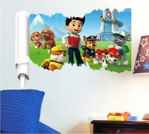 kids paw patrol dog cartoon scroll wall sticker vinyl art decals