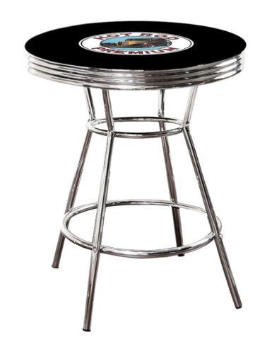 BLACK BAR PUB TABLE WITH VINTAGE GAS GARAGE AUTO SHOP THEME DECAL GLASS OPTION