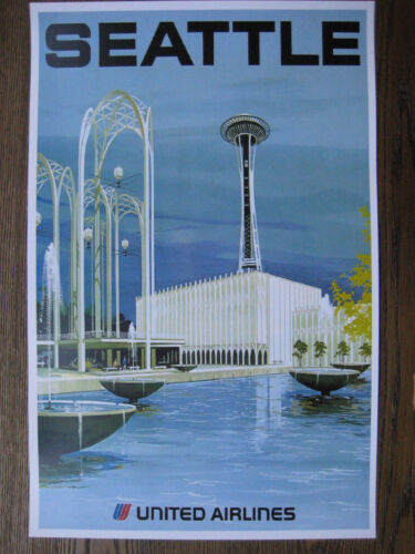 """United  Airlines 11/"""" x 17/"""" Collector/'s Travel Poster Print SEATTLE B2G1F"""