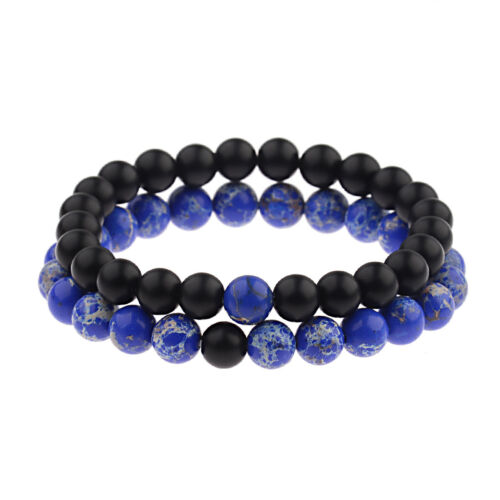 2Pcs His /& Hers Distance Weave Women Men Natural Stone Couple Bracelets Gift