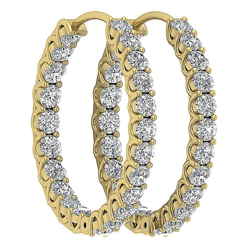 Hoop Earrings I1 G InOut Side 2.50 Ct Natural Diamond 14K Yellow gold 0.95 Inch
