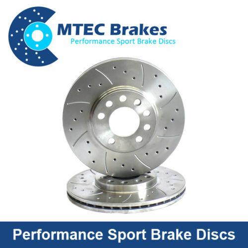For Subaru Impreza WRX 294mm MTEC Drilled Grooved Brake Discs 4 Pot Type