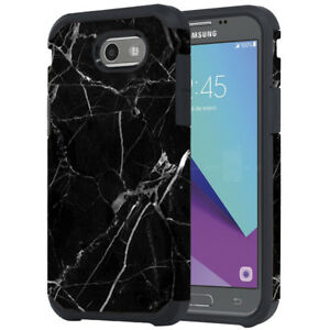 quality design 969f6 d975e Details about SAMSUNG GALAXY J7 PRIME J727T 2017/HALO BLACK MARBLE ASTRO  ARMOR CASE COVER